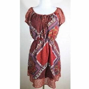 3/$25 Rue21 Red Tribal Patterned Boho Dress